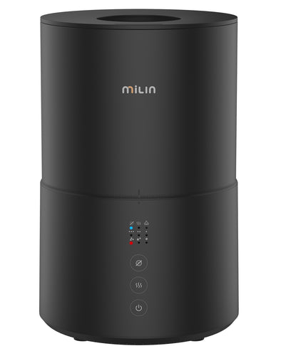 MILIN Sterilization Humidifier Germ Free Cool Mist Humidifier for Bedroom with Air Sterilization/Essential Oil Tray/Whisper-Quiet and Easy Clean 2L 20H Humidify - BLACK - milinlife