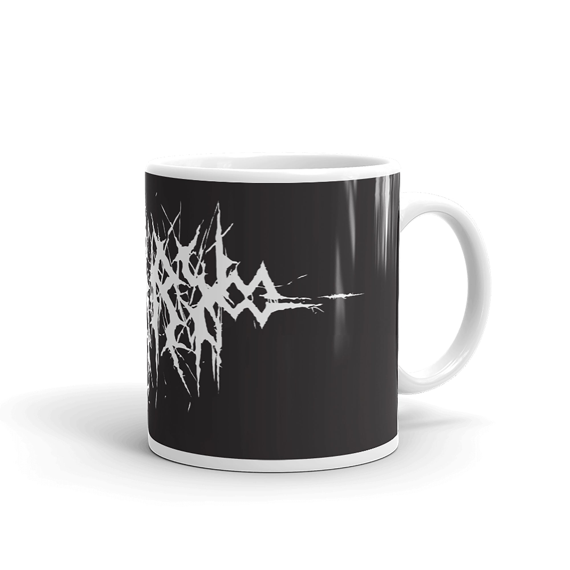 Custom Name Black Metal Coffee Mug in White Text