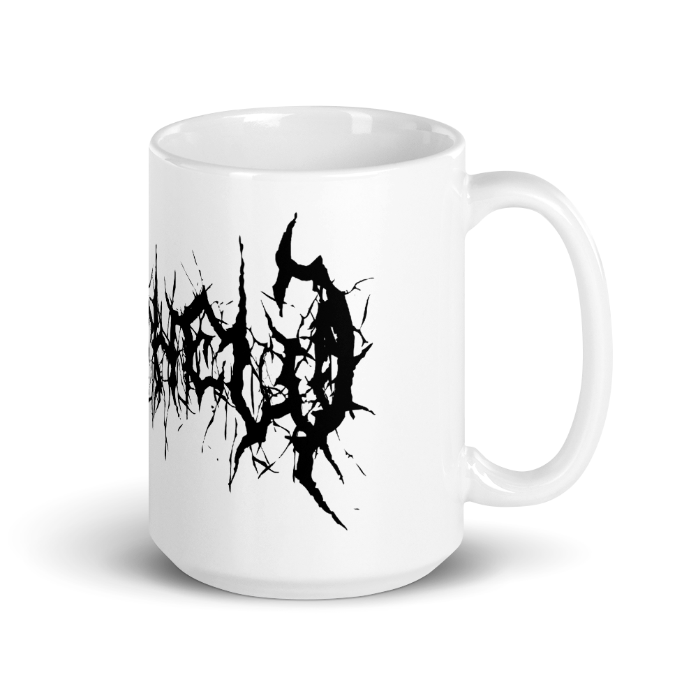 Black Metal Custom Name Coffee Mug black text