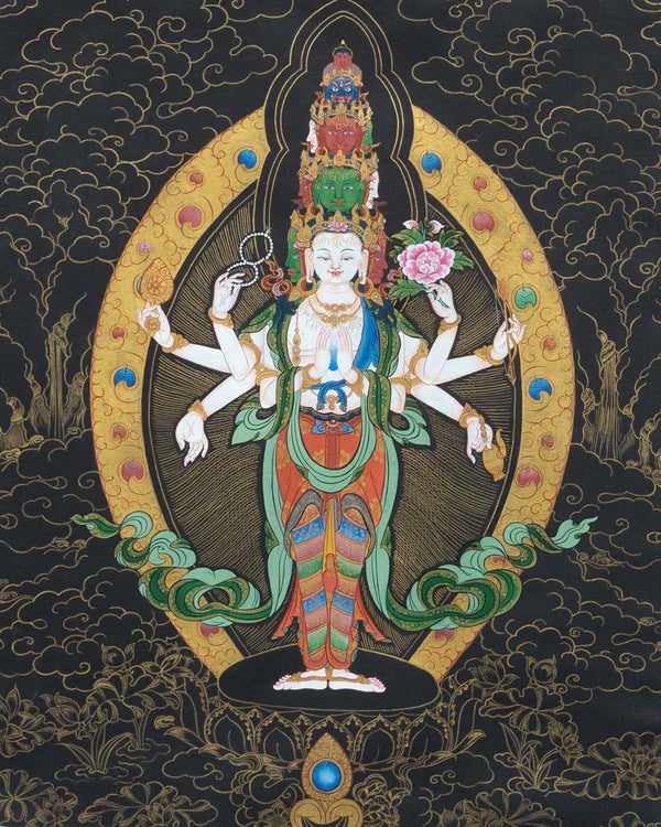 Eleven Headed Avalokiteshvara Painted Thangka