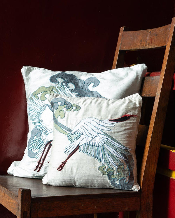 Crane Applique Cushion Cover