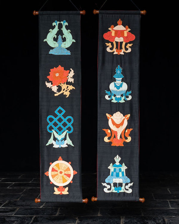 Eight Auspicious Symbols Applique Wall Hanging