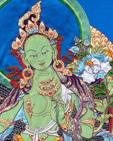 Green Tara Applique Thangka