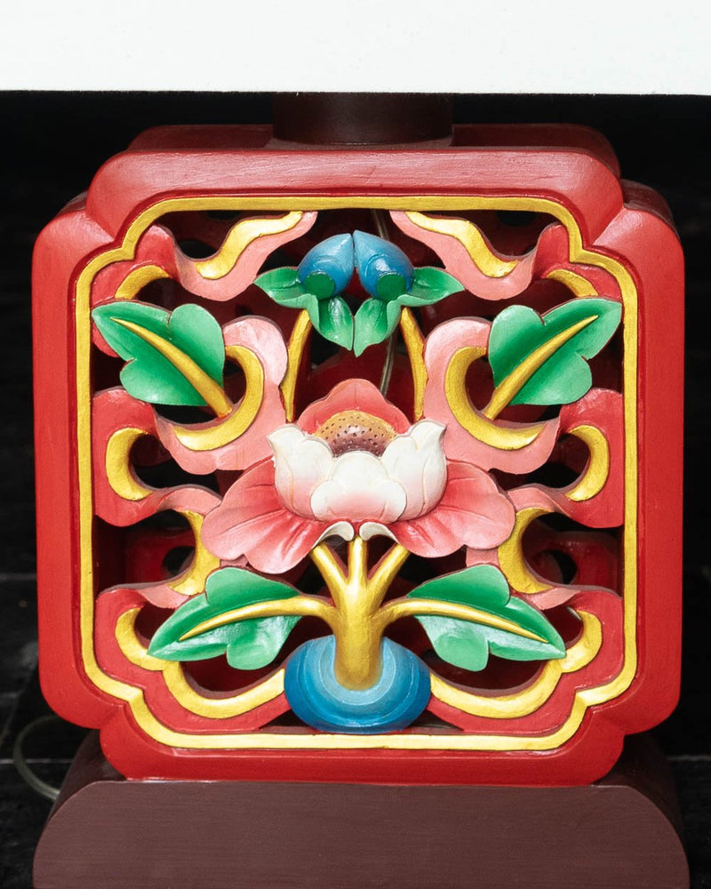 Auspicious Symbols Carved Table Lamp (Red)