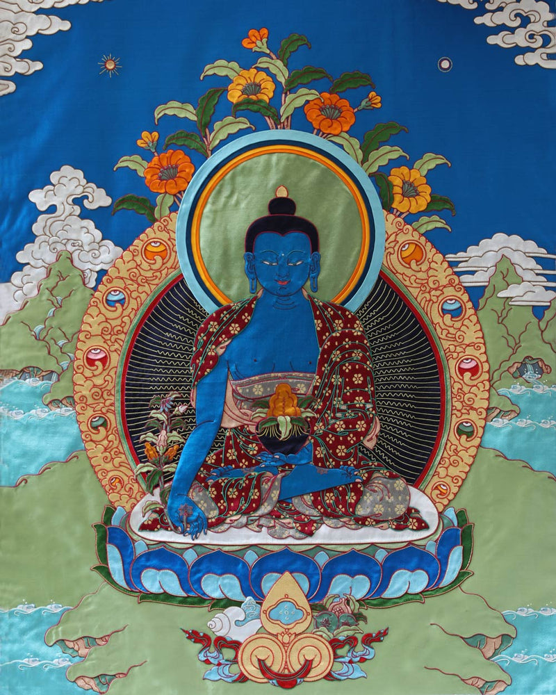 Medicine Buddha Applique Thangka -4ft
