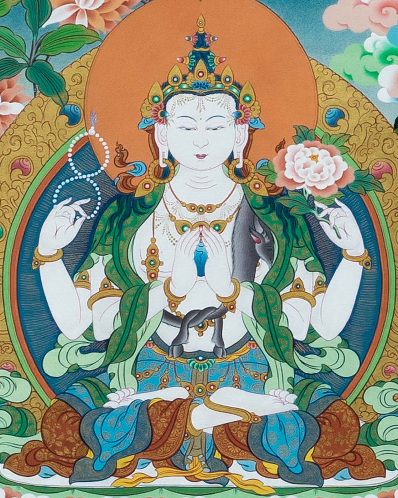 Rig Sum Gonpo Painted Thangka (2ft)