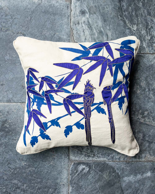 Paradise Flycatchers Applique Cushion Cover (Blue)