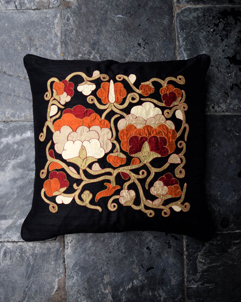 Peonies Applique Cushion Cover