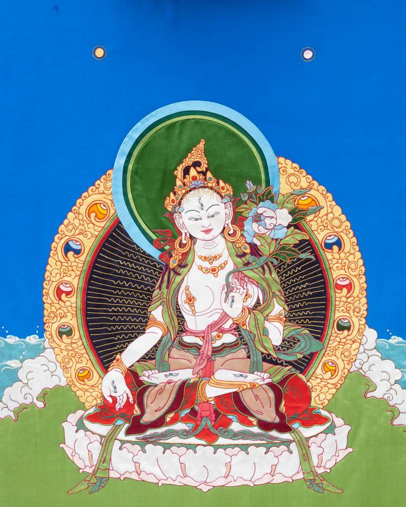 White Tara Applique Thangka