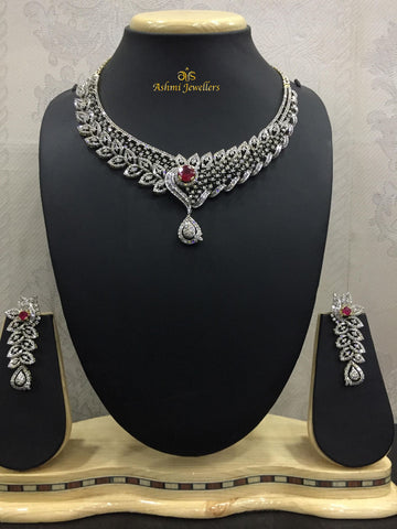 Diamond set with red ruby