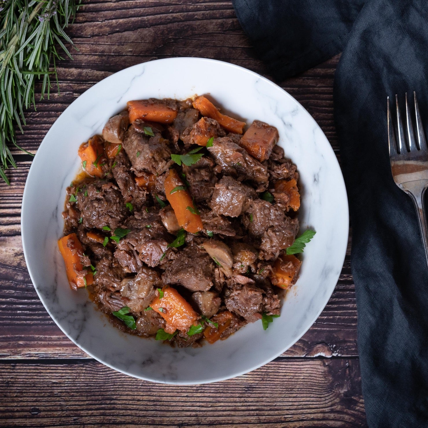 Ready to eat Beef Bourguignon in a plate