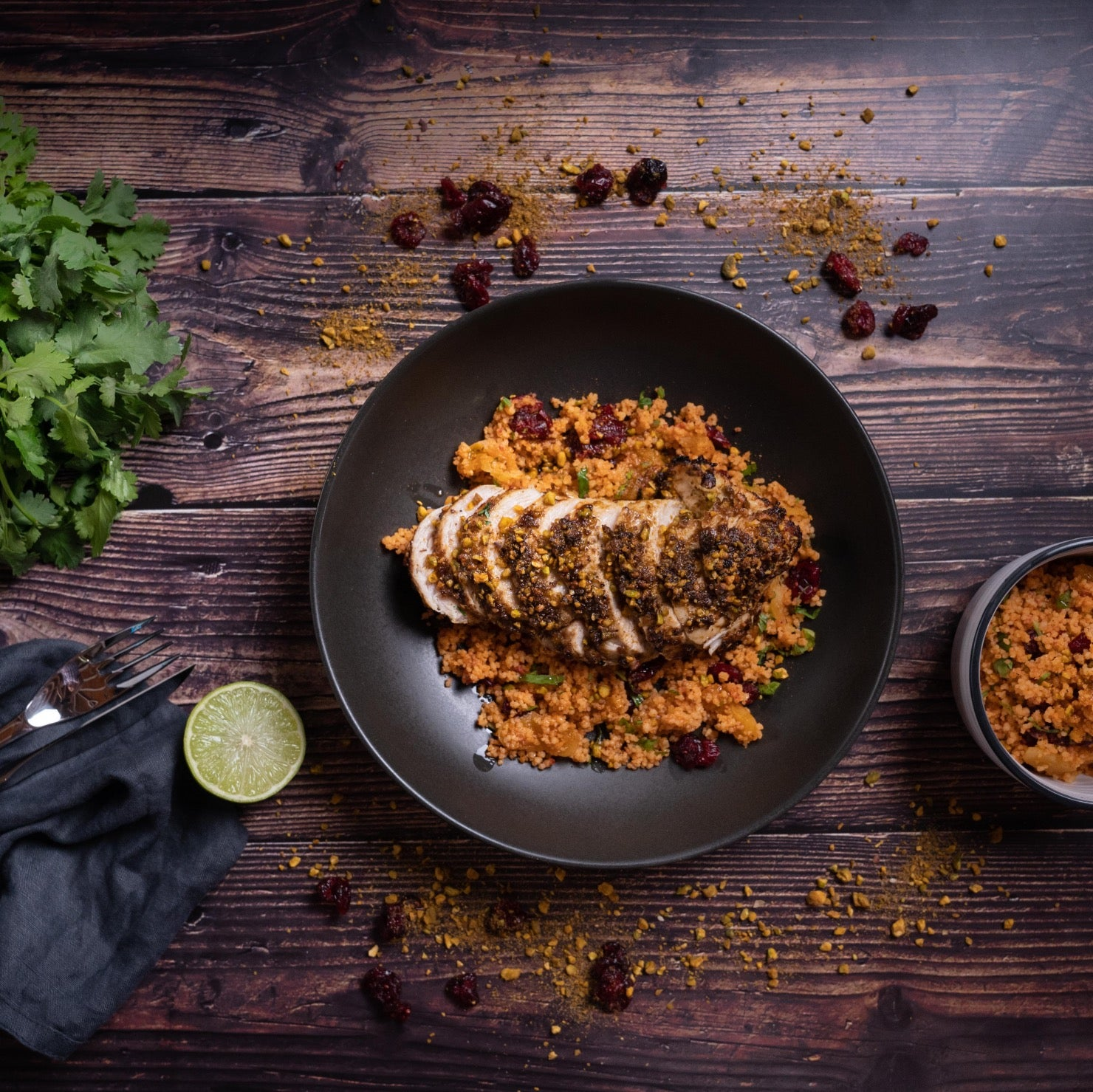 Dukkah Chicken and couscous on a plate