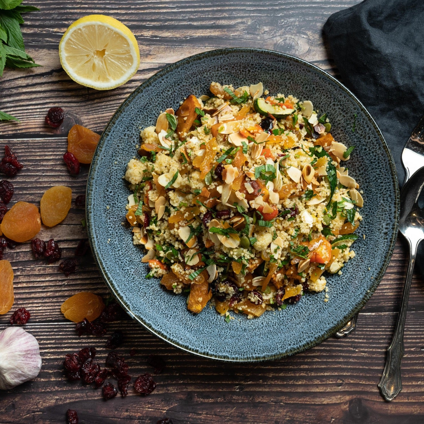 Moroccan Couscous Prepared meal in a plate