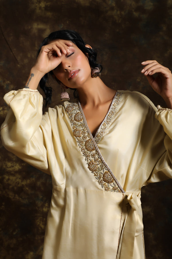 Chandhni Wrap Kurta With Inner And Jama(Bottom)