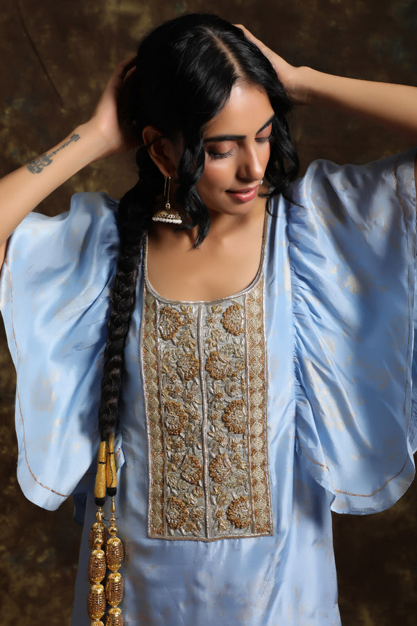 Aasmani Frill Kurta With Jama(Bottom)