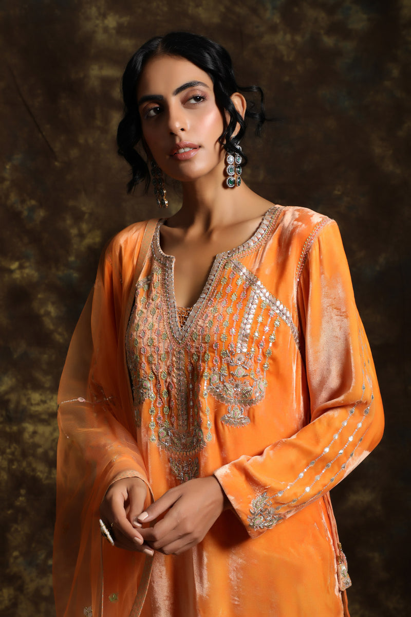 Sarung Velvet Kurta and Having a Net Dupatta With Embroidery Details with Jama
