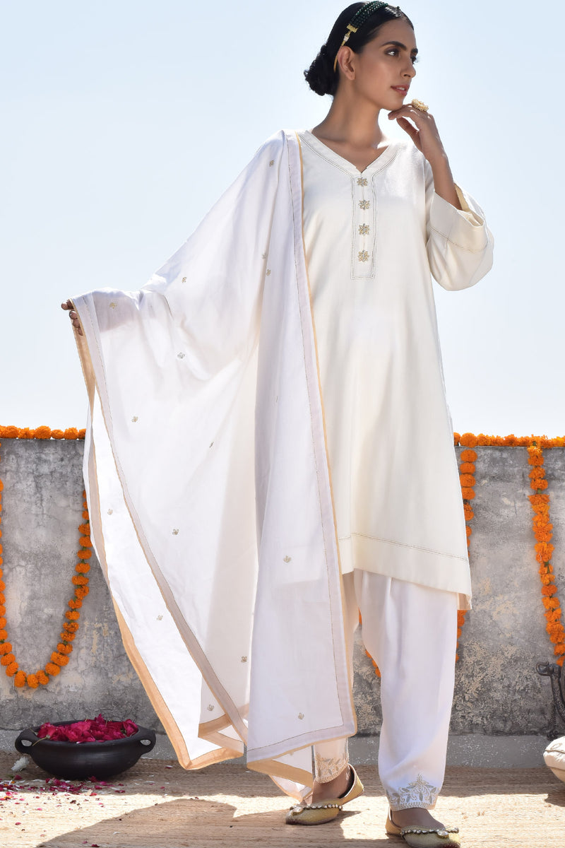 Chandhni Lahoriya Kurta with Peshwa Salwar and Dupatta