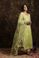 Pista Velvet Kurta and Having A Net Dupatta With Embroidery Details with Brocade Jama