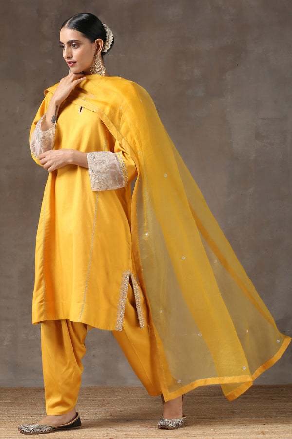Haldi Lahoriya Chola with Peshwa Salwar and Organza Dupatta