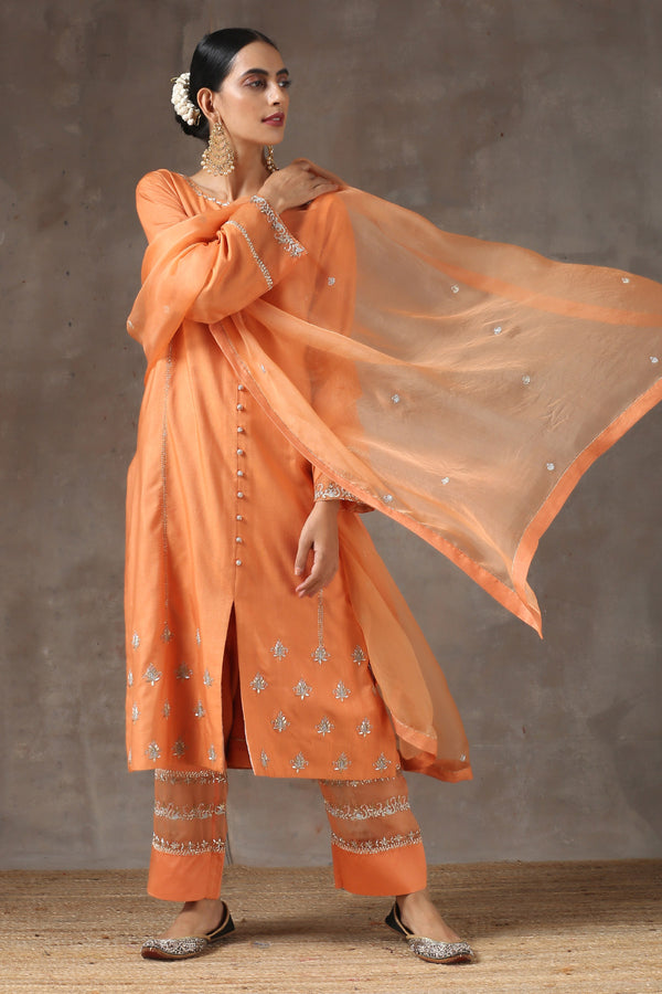 Santari Lahoriya Botti Kurta with Patalun and Organza Dupatta
