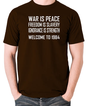 1984, George Orwell - War Is Peace - Men's T Shirt - chocolate