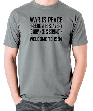 1984, George Orwell - War Is Peace - Men's T Shirt - grey