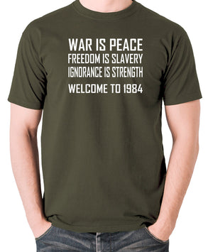 1984, George Orwell - War Is Peace - Men's T Shirt - olive