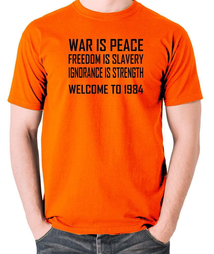 1984, George Orwell - War Is Peace - Men's T Shirt - orange