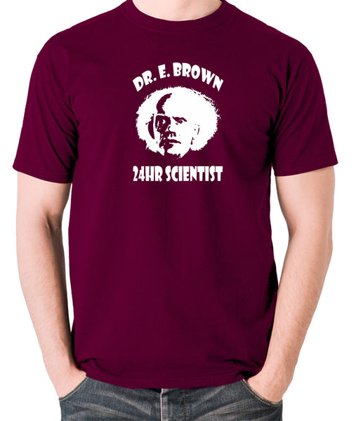 Back To The Future - Doc Brown 24hr Scientist - Men's T Shirt - burgundy