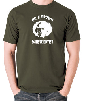 Back To The Future - Doc Brown 24hr Scientist - Men's T Shirt - olive