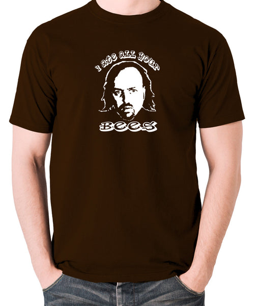 Black Books I Ate All Your Bees T Shirt chocolate