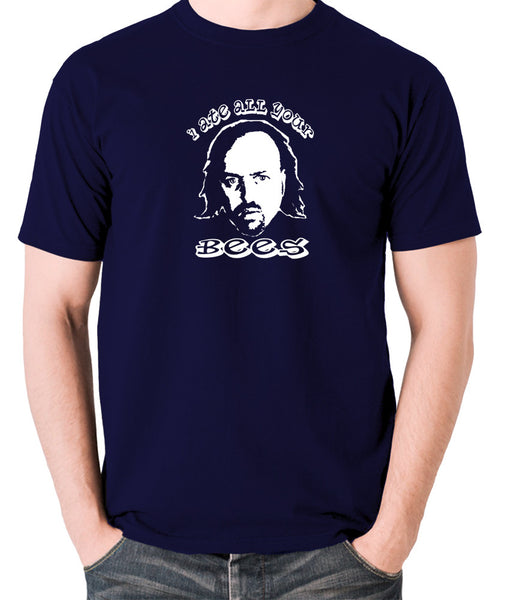 Black Books I Ate All Your Bees T Shirt navy