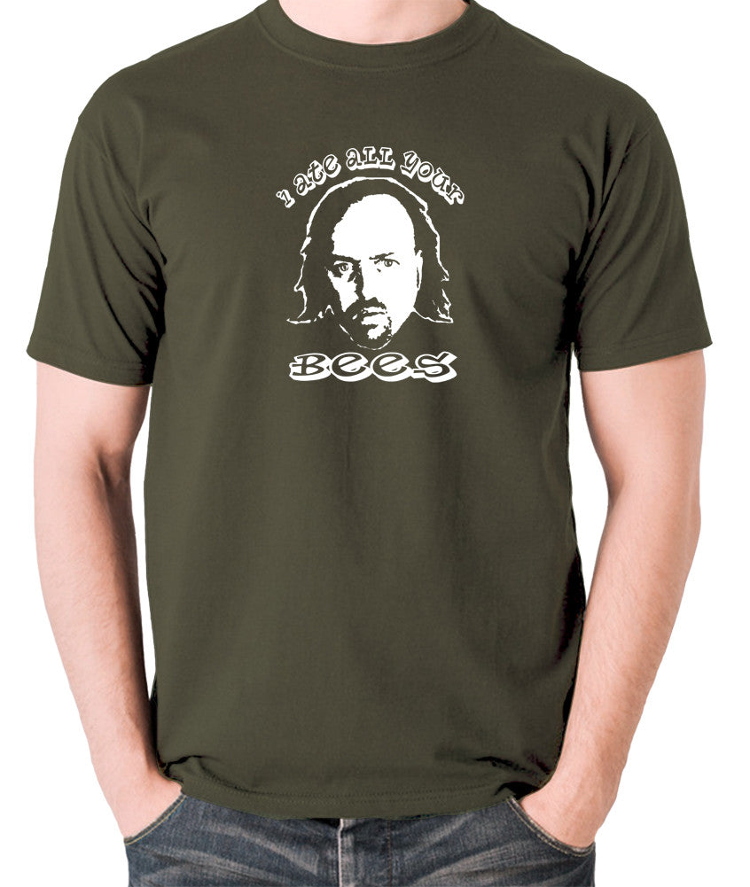 Black Books I Ate All Your Bees T Shirt olive