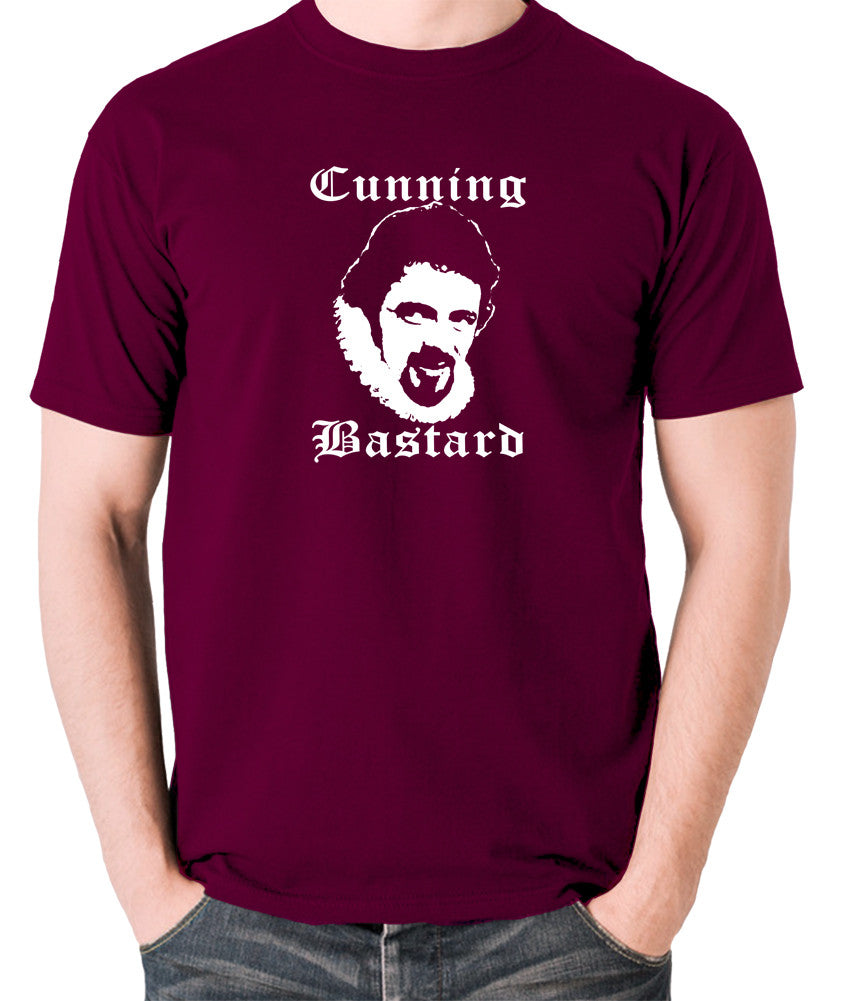Blackadder - Rowan Atkinson - Cunning Bastard - Men's T Shirt - burgundy