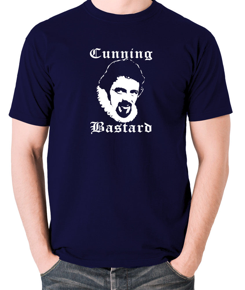 Blackadder - Rowan Atkinson - Cunning Bastard - Men's T Shirt - navy