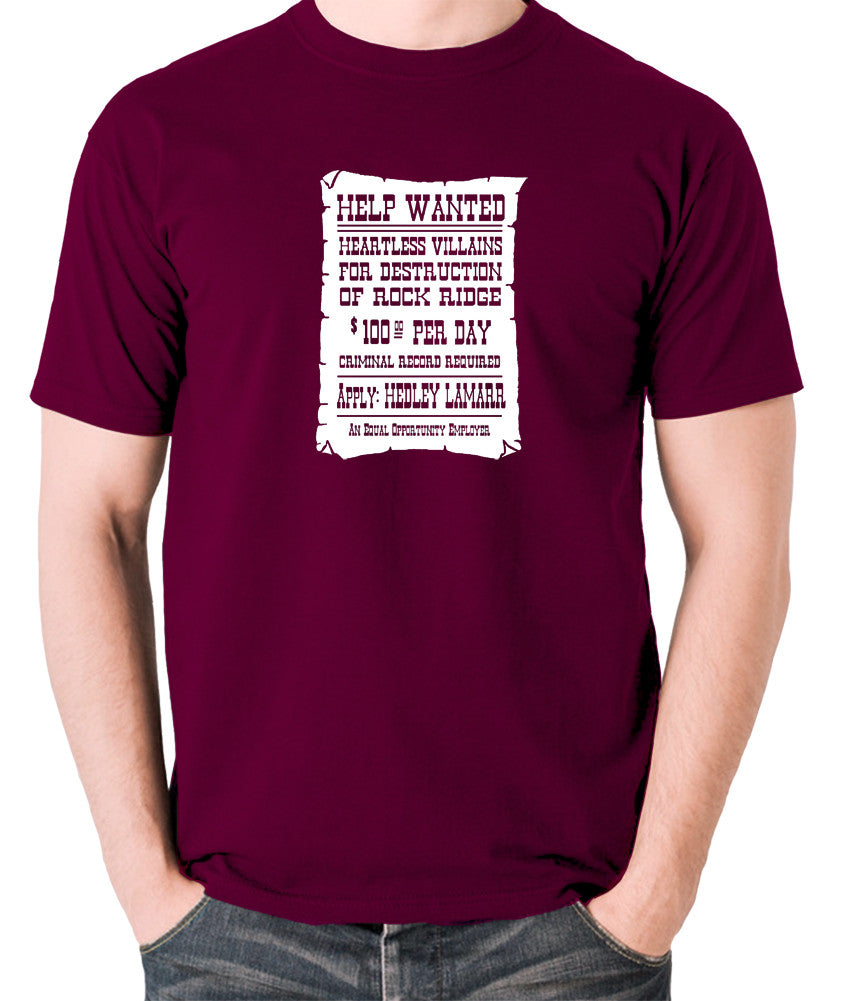 Blazing Saddles - Help Wanted Poster - Men's T Shirt - burgundy