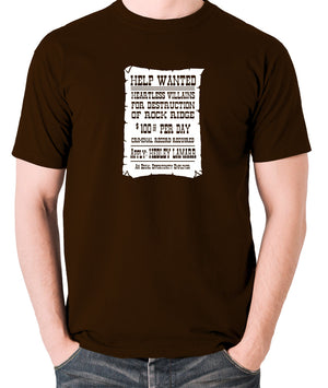 Blazing Saddles - Help Wanted Poster - Men's T Shirt - chocolate