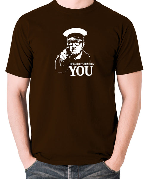Bottom Edward Hitler Needs You T Shirt chocolate