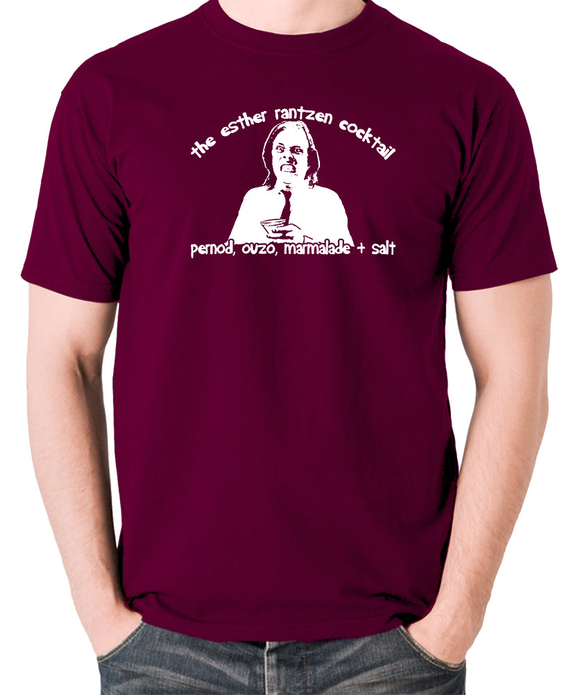 Bottom - Richie, The Esther Rantzen Cocktail, Pernod, Ouzo, Marmalade and Salt - Mens T Shirt - burgundy