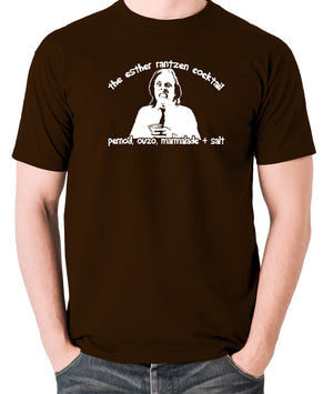Bottom - Richie, The Esther Rantzen Cocktail, Pernod, Ouzo, Marmalade and Salt - Mens T Shirt - chocolate