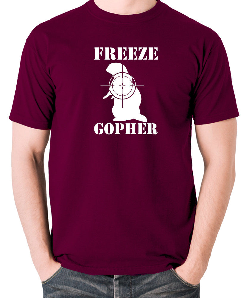 Caddyshack - Freeze Gopher - Men's T Shirt - burgundy