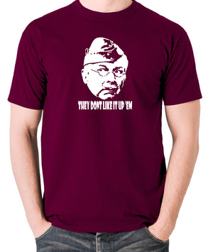 Dad's Army - Lance Corporal Jones, They Don't Like It Up 'Em - Men's T Shirt - burgundy