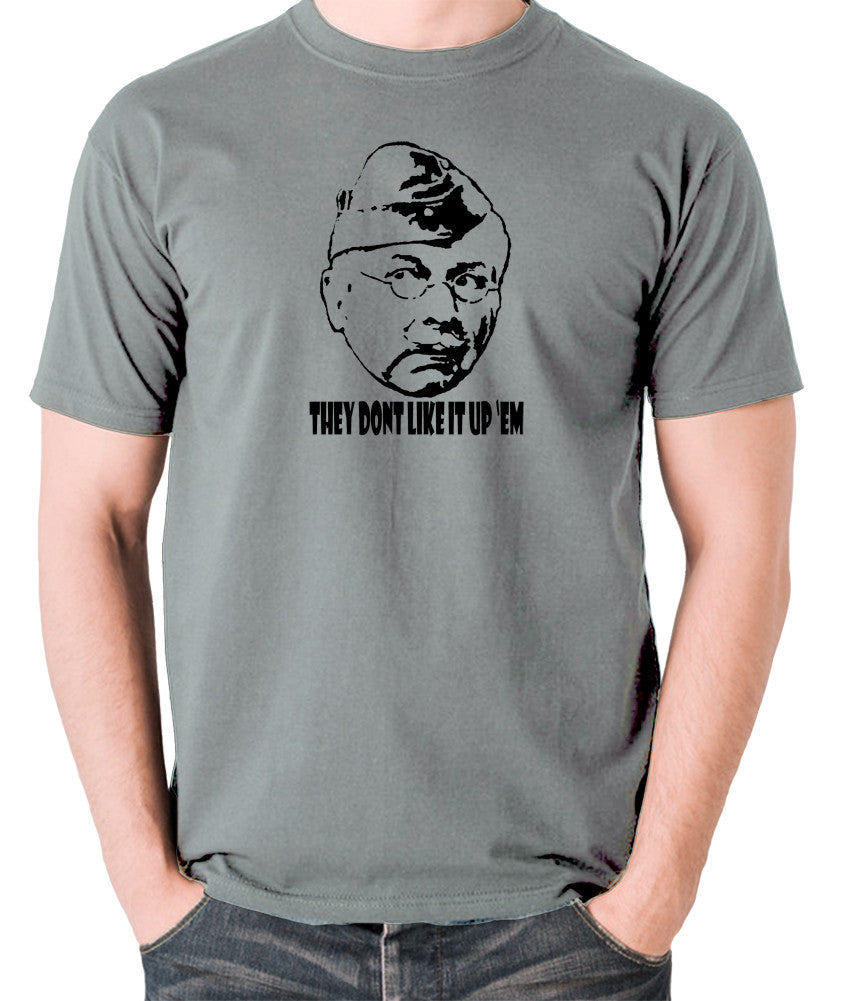 Dad's Army - Lance Corporal Jones, They Don't Like It Up 'Em - Men's T Shirt - grey