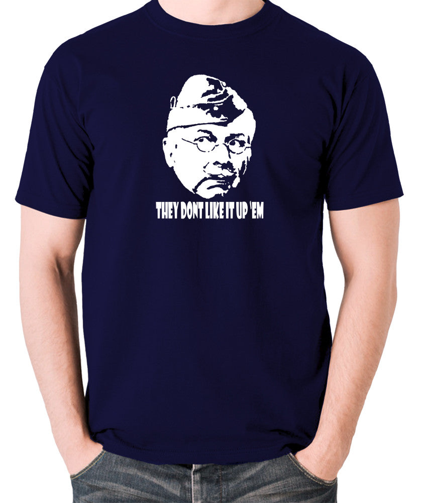 Dad's Army - Lance Corporal Jones, They Don't Like It Up 'Em - Men's T Shirt - navy