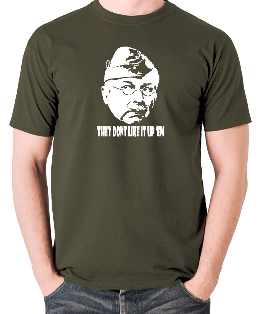 Dad's Army - Lance Corporal Jones, They Don't Like It Up 'Em - Men's T Shirt - olive