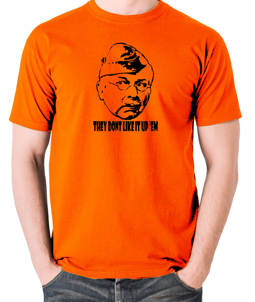 Dad's Army - Lance Corporal Jones, They Don't Like It Up 'Em - Men's T Shirt - orange
