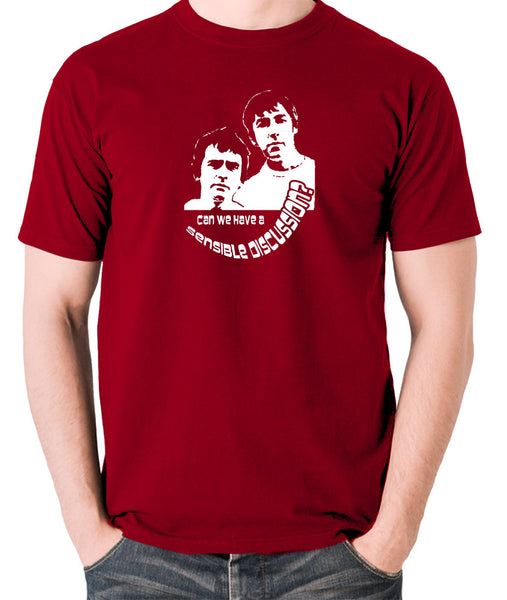 Derek And Clive - Peter Cook and Dudley Moore - Can We Have a Sensible Discussion? - Men's T Shirt - brick red