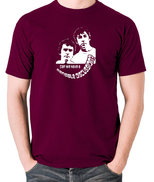 Derek And Clive - Peter Cook and Dudley Moore - Can We Have a Sensible Discussion? - Men's T Shirt - burgundy