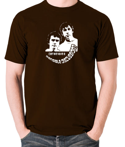Derek And Clive - Peter Cook and Dudley Moore - Can We Have a Sensible Discussion? - Men's T Shirt - chocolate