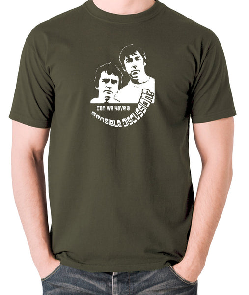 Derek And Clive - Peter Cook and Dudley Moore - Can We Have a Sensible Discussion? - Men's T Shirt - olive